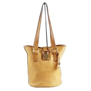 Dooney & Bourke Tan Ostrich Embossed Leather Bag
